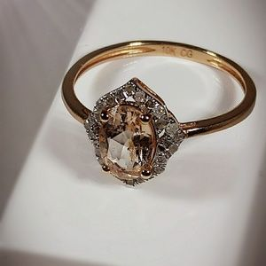 Jewelry - Real Rose Gold Ring with Morganite and Diamond